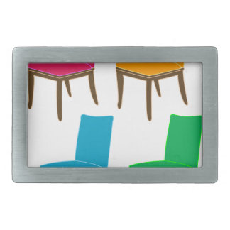 Graphic of a dining chair rectangular belt buckle