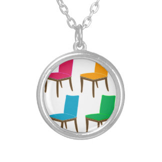 Graphic of a dining chair round pendant necklace