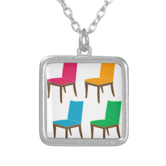 Graphic of a dining chair square pendant necklace