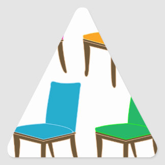 Graphic of a dining chair triangle sticker