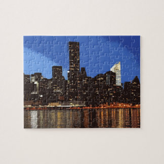 Graphic of the skyline of New York at night Jigsaw Puzzles