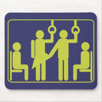 Graphic of touching strange girls on the bus. mouse pad