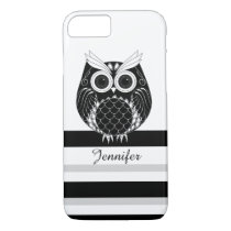Graphic owl on striped background iPhone 7 case