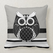 Graphic owl on striped background throw pillow