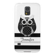 Graphic owl on striped background with name galaxy s5 cover