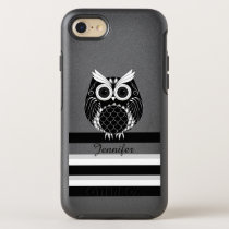 Graphic owl on striped background with name OtterBox symmetry iPhone 7 case