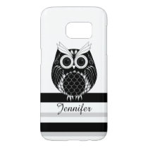 Graphic owl on striped background with name samsung galaxy s7 case