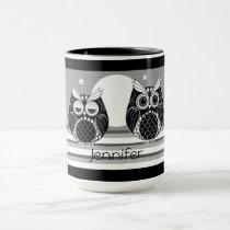 Graphic owls, striped background and custom name mug