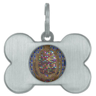 Graphic Painting  Crystal Stone TileS Egyptian NY Pet ID Tag