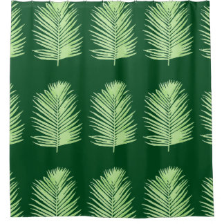 graphic palm tree leaves green shower curtain