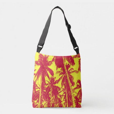 Graphic Palm Trees Design Crossbody Bag