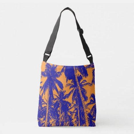 Graphic Palm Trees Design Crossbody Bag