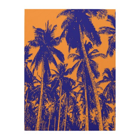 Graphic Palm Trees Design Wood Print