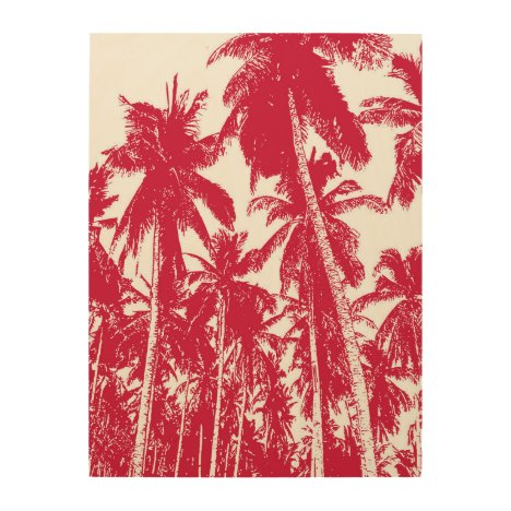 Graphic Palm Trees Design Wood Wall Art
