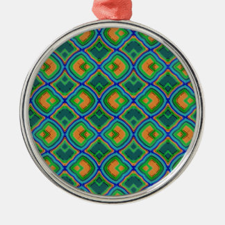 graphic pattern PETER Round Metal Christmas Ornament