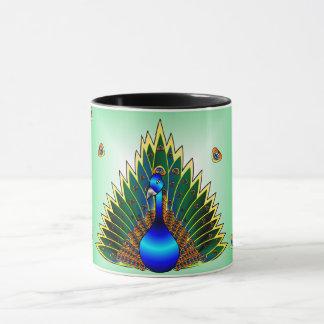 Graphic Peacock  Blue-Green Background Mug