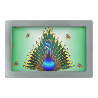 Graphic Peacock Design With Blue-Green Background Belt Buckle