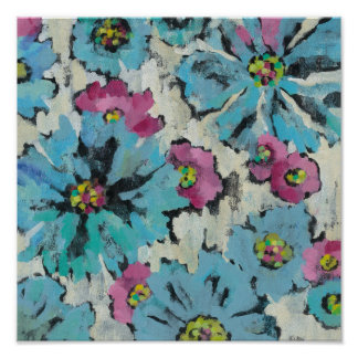 Graphic Pink and Blue Floral Poster