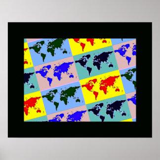 graphic pop art world map poster