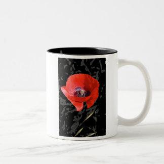 Graphic poppy coffee mug