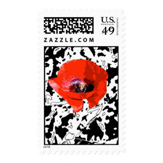 Graphic poppy stamps