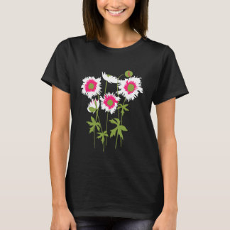 Graphic ragged poppies white, pink & green T-Shirt
