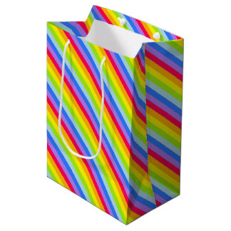 Graphic rainbow stripes gift bag