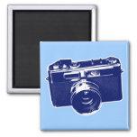 Graphic Retro Camera Design in Blue 2 Inch Square Magnet