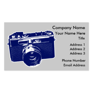 Graphic Retro Camera Design in Blue Double-Sided Standard Business Cards (Pack Of 100)