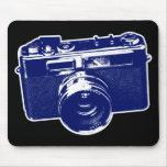 Graphic Retro Camera Design in Blue Mouse Pad