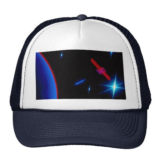 Graphic satellite with earth and stars hats