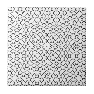 Graphic Scales Geometric Black and White Pring Ceramic Tile