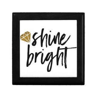 Graphic Shine Bright Text With Gold Diamond Keepsake Box