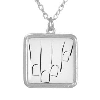 Graphic showing nail care or manicure square pendant necklace