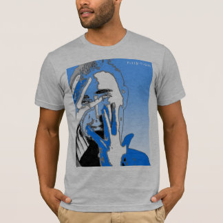 Graphic Silhouette Face & Hand Blue T-Shirt