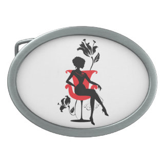 Graphic silhouette of a woman sitting in red chair oval belt buckle