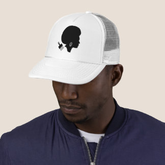 GRAPHIC SILHOUETTE OF AFRO WOMAN WITH AFRO PICK TRUCKER HAT