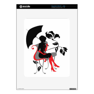 Graphic silhouette of young woman with umbrella decal for iPad