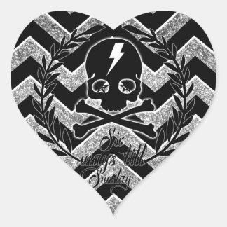 Graphic skull and lighting chevron in black. heart sticker