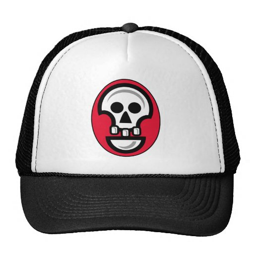 Graphic skull image in red, black and white mesh hat