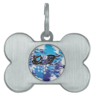 Graphic Snowmobiler Pet Name Tag