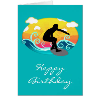 Graphic Sun, Ocean and Surfer Card