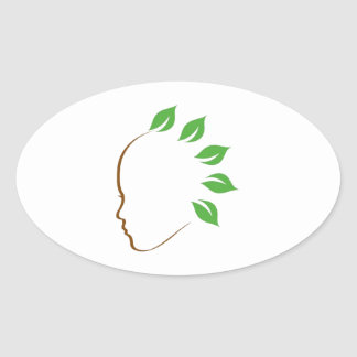 Graphic symbolizing organic hair spa oval sticker