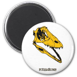 Graphic T-Rex Skull 2 Inch Round Magnet