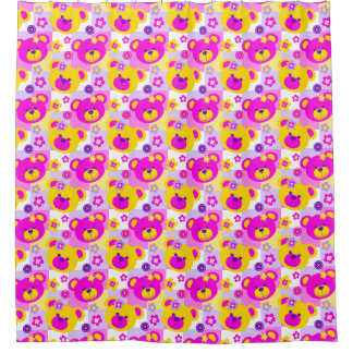 Graphic teddy bear faces pink yellow curtain shower curtain