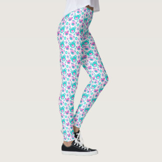 Graphic teddy bear pink aqua white leggings