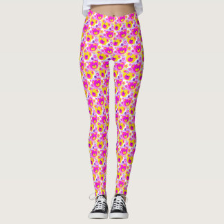 Graphic teddy bear pink yellow purple leggings