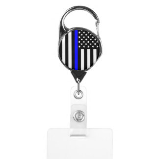 Graphic Thin Blue Line Display US Flag Badge Holder