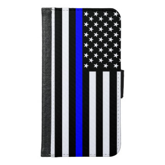 Graphic Thin Blue Line Display US Flag Wallet Phone Case For Samsung Galaxy S6