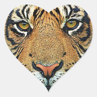Graphic Tiger Design Heart Sticker
